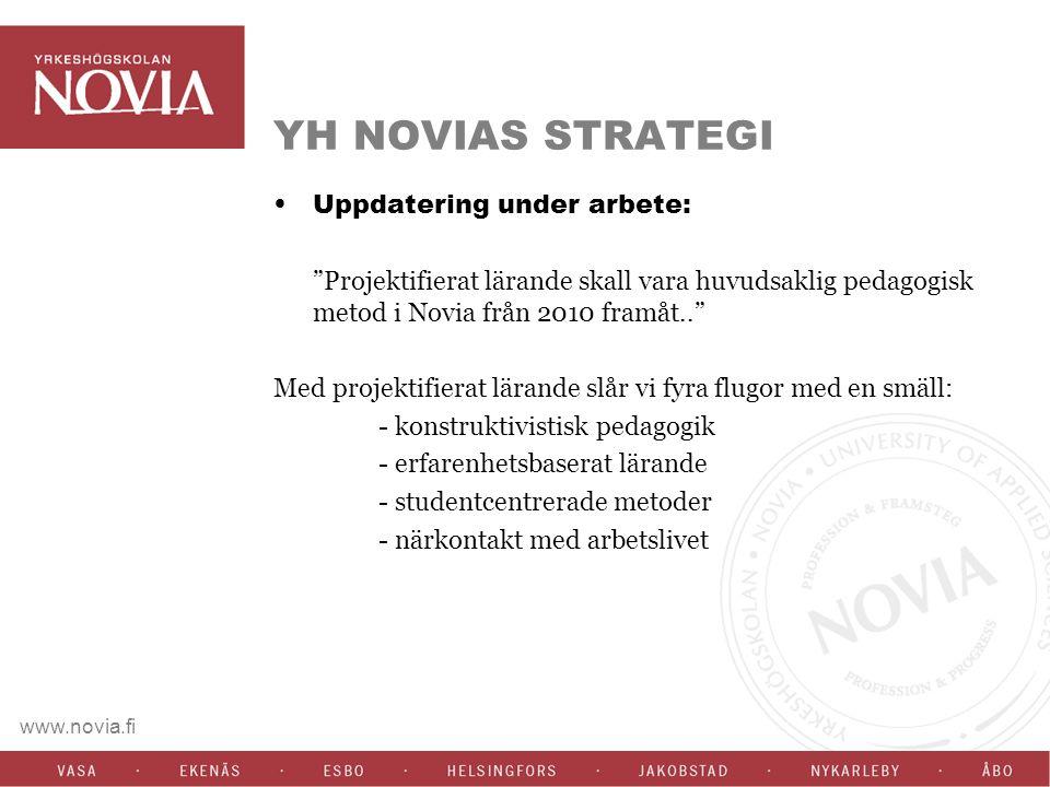 www.novia.fi YH NOVIAS STRATEGI Uppdatering under arbete: Projektifierat lärande skall vara huvudsaklig pedagogisk metod i Novia från 2010 framåt.. Med projektifierat lärande slår vi fyra flugor med en smäll: - konstruktivistisk pedagogik - erfarenhetsbaserat lärande - studentcentrerade metoder - närkontakt med arbetslivet