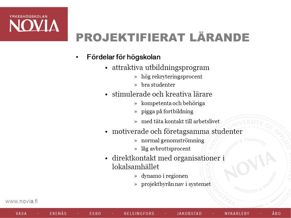 www.novia.fi PROJEKTIFIERAT LÄRANDE Fördelar för högskolan attraktiva utbildningsprogram »hög rekryteringsprocent »bra studenter stimulerade och kreativa lärare »kompetenta och behöriga »pigga på fortbildning »med täta kontakt till arbetslivet motiverade och företagsamma studenter »normal genomströmning »låg avbrottsprocent direktkontakt med organisationer i lokalsamhället »dynamo i regionen »projektbyrån nav i systemet