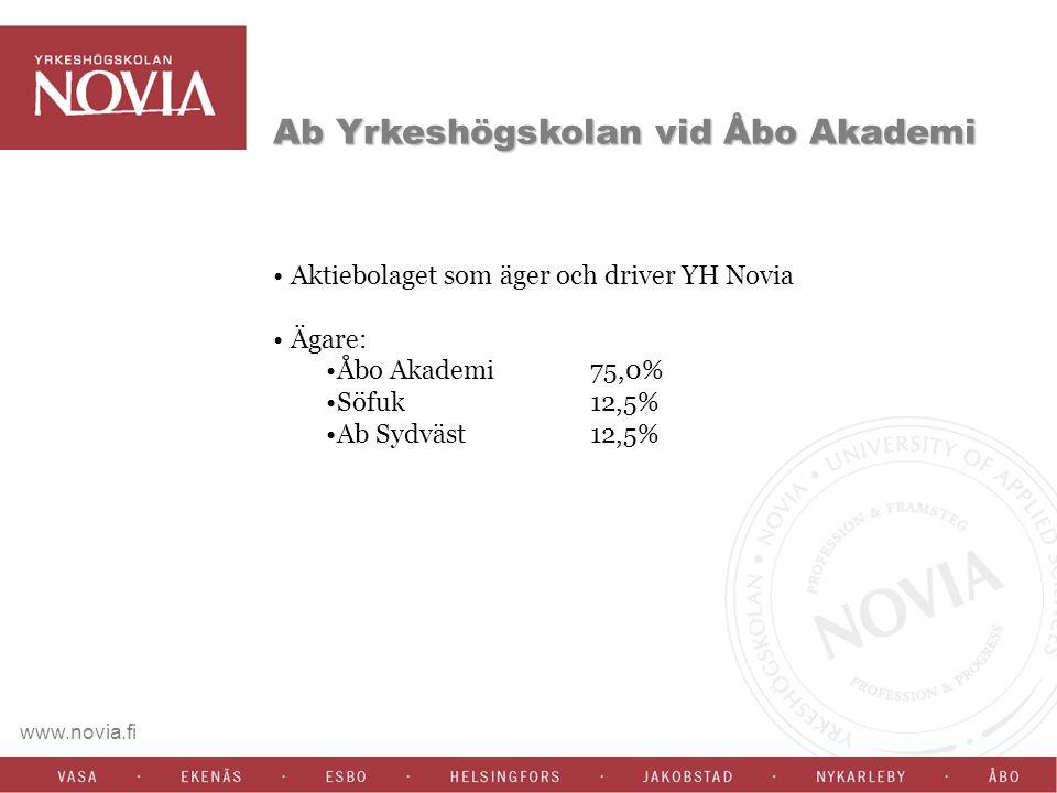 Ab Yrkeshögskolan vid Åbo Akademi Aktiebolaget som äger och driver YH Novia Ägare: Åbo Akademi 75,0% Söfuk 12,5% Ab Sydväst 12,5%