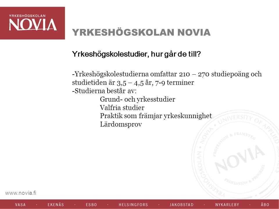 www.novia.fi YRKESHÖGSKOLAN NOVIA Yrkeshögskolestudier, hur går de till.