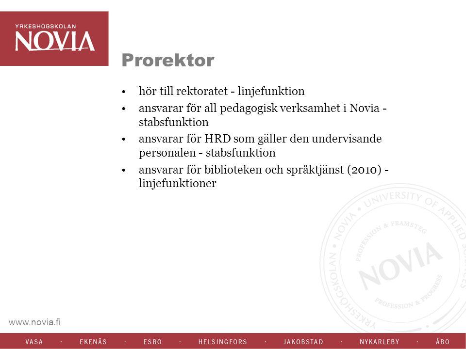 www.novia.fi Prorektor hör till rektoratet - linjefunktion ansvarar för all pedagogisk verksamhet i Novia - stabsfunktion ansvarar för HRD som gäller den undervisande personalen - stabsfunktion ansvarar för biblioteken och språktjänst (2010) - linjefunktioner