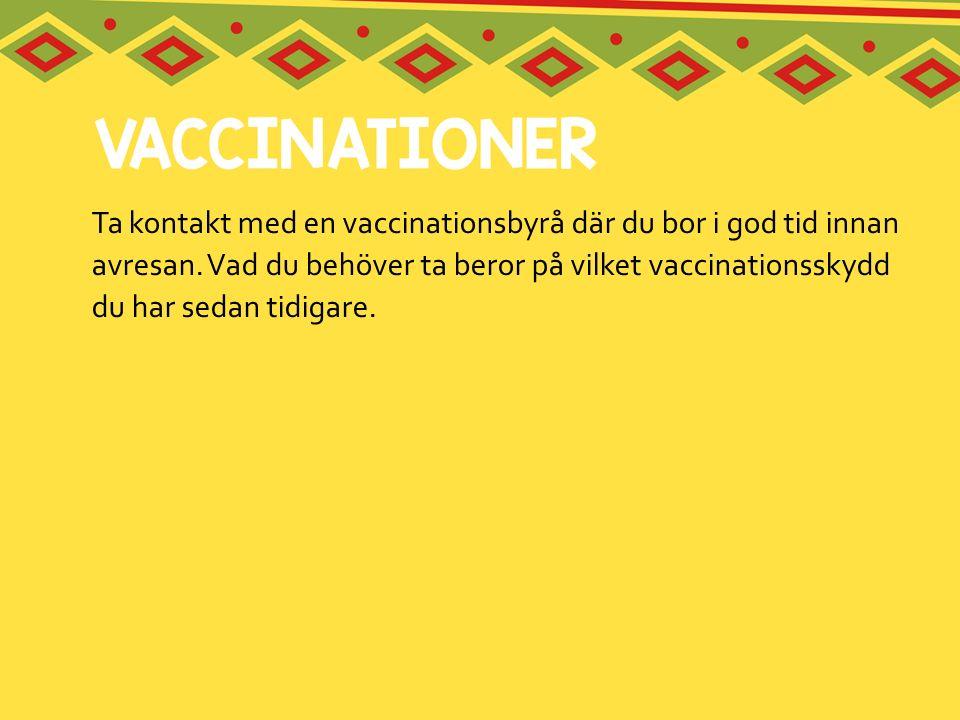 Ta kontakt med en vaccinationsbyrå där du bor i god tid innan avresan. Vad du behöver ta beror på vilket vaccinationsskydd du har sedan tidigare.