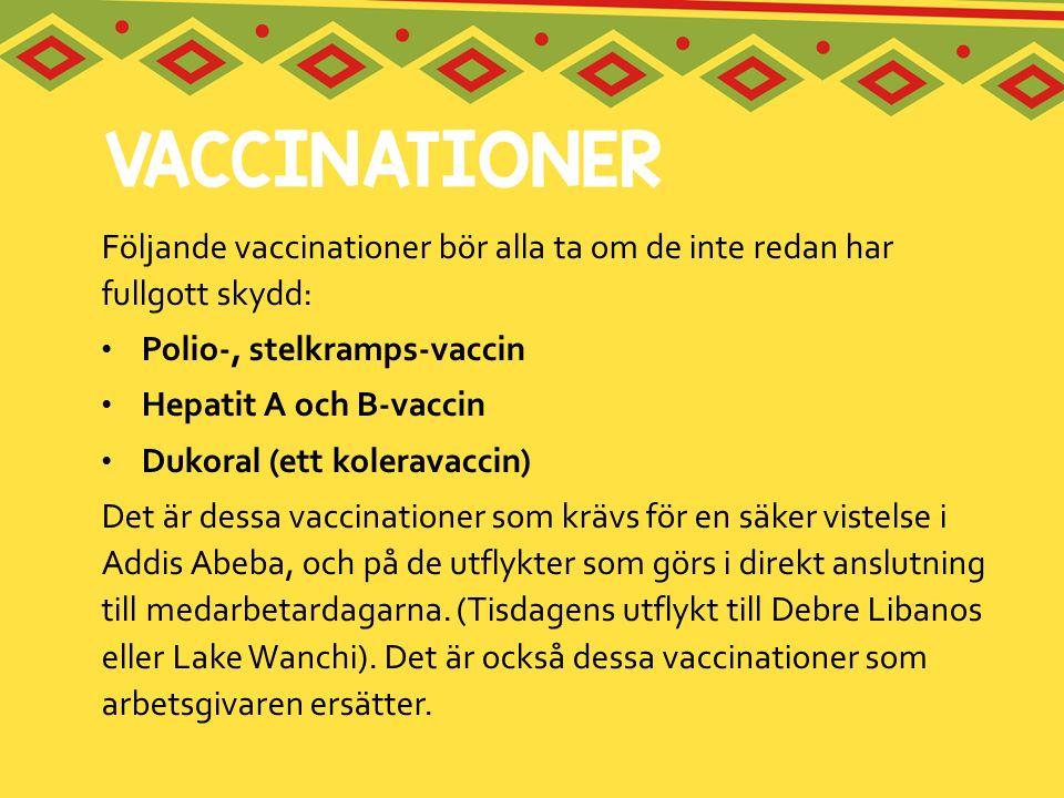 Följande vaccinationer bör alla ta om de inte redan har fullgott skydd: Polio-, stelkramps-vaccin Hepatit A och B-vaccin Dukoral (ett koleravaccin) De