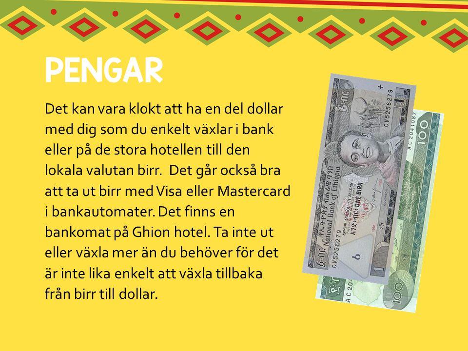 Det kan vara klokt att ha en del dollar med dig som du enkelt växlar i bank eller på de stora hotellen till den lokala valutan birr. Det går också bra