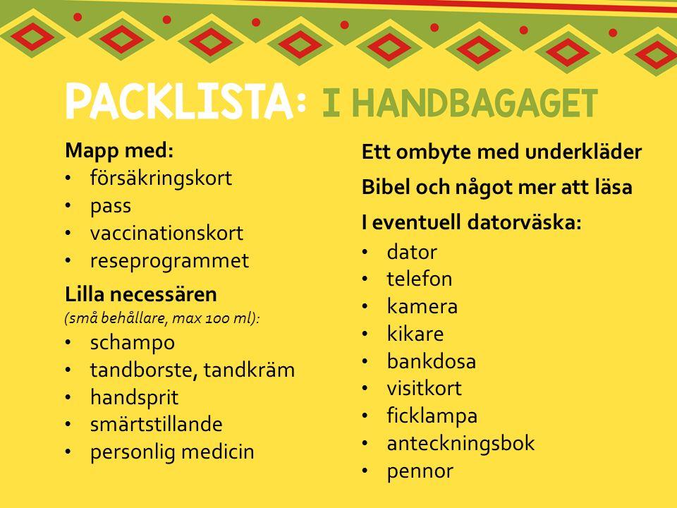 Mapp med: försäkringskort pass vaccinationskort reseprogrammet Lilla necessären (små behållare, max 100 ml): schampo tandborste, tandkräm handsprit sm