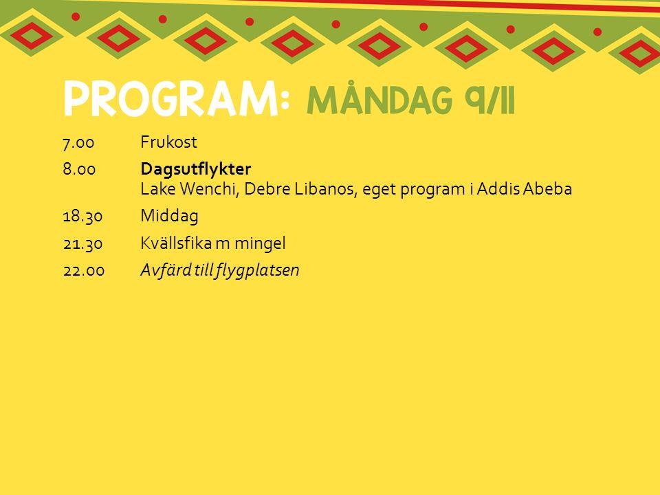 7.00Frukost 8.00 Dagsutflykter Lake Wenchi, Debre Libanos, eget program i Addis Abeba 18.30 Middag 21.30Kvällsfika m mingel 22.00Avfärd till flygplats