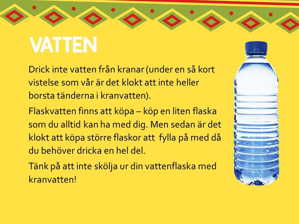 Drick inte vatten från kranar (under en så kort vistelse som vår är det klokt att inte heller borsta tänderna i kranvatten). Flaskvatten finns att köp