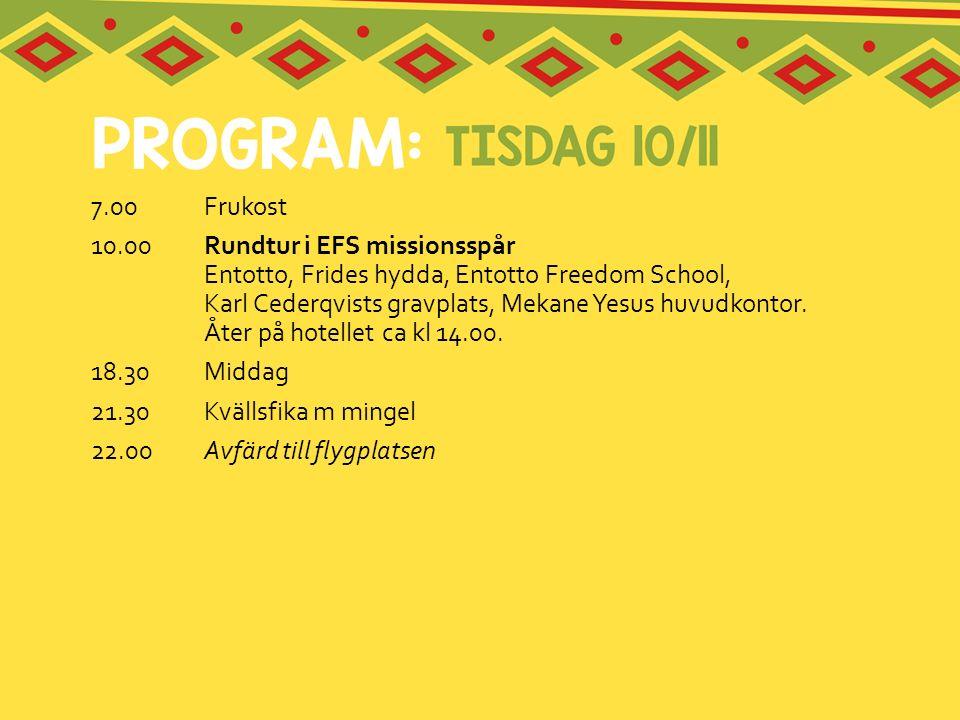 7.00Frukost 10.00 Rundtur i EFS missionsspår Entotto, Frides hydda, Entotto Freedom School, Karl Cederqvists gravplats, Mekane Yesus huvudkontor. Åter