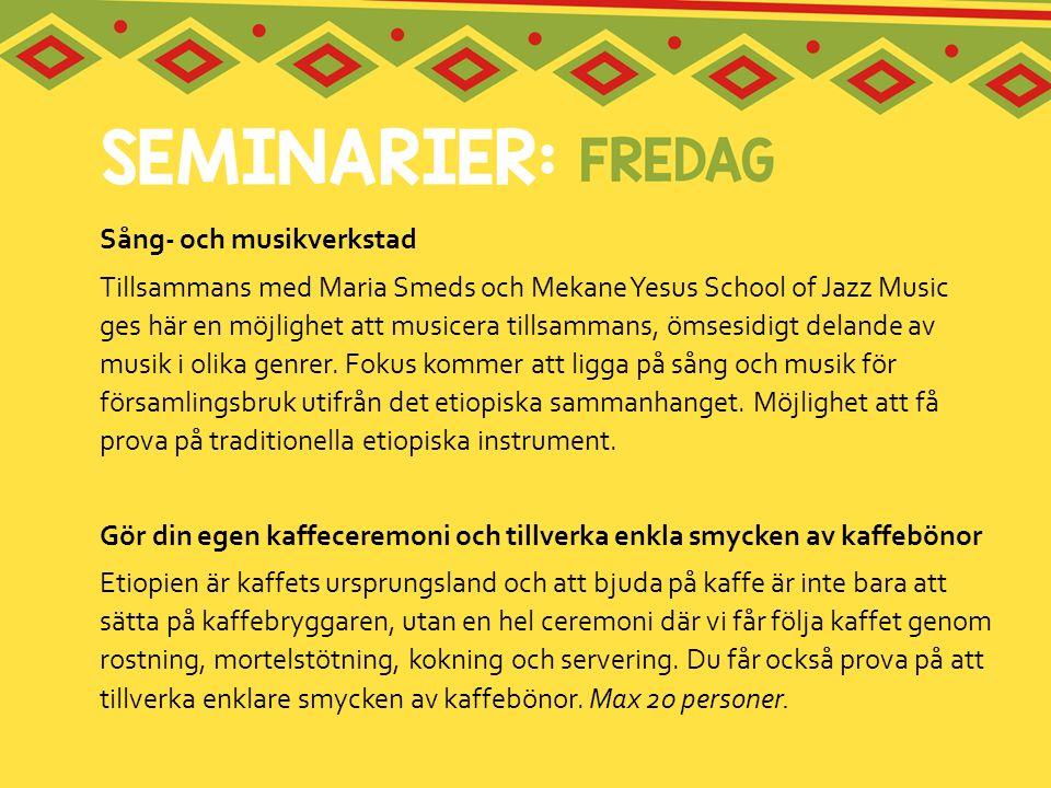 Sång- och musikverkstad Tillsammans med Maria Smeds och Mekane Yesus School of Jazz Music ges här en möjlighet att musicera tillsammans, ömsesidigt de