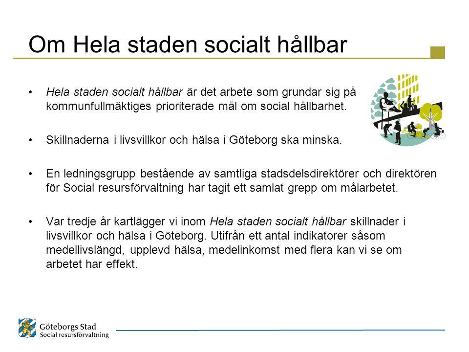 Om Hela staden socialt hållbar Hela staden socialt hållbar är det arbete som grundar sig på kommunfullmäktiges prioriterade mål om social hållbarhet.