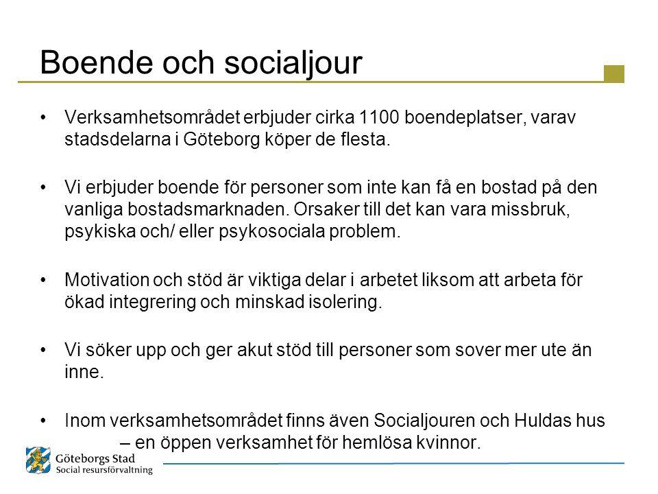 Boende och socialjour Verksamhetsområdet erbjuder cirka 1100 boendeplatser, varav stadsdelarna i Göteborg köper de flesta. Vi erbjuder boende för pers