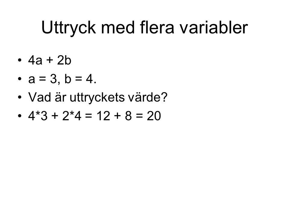 Uttryck med flera variabler 4a + 2b a = 3, b = 4. Vad är uttryckets värde? 4*3 + 2*4 = 12 + 8 = 20