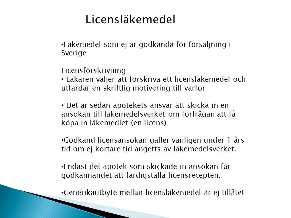 Licensläkemedel Läkemedel som ej är godkända för försäljning i Sverige Licensförskrivning: Läkaren väljer att förskriva ett licensläkemedel och utfärdar en skriftlig motivering till varför Det är sedan apotekets ansvar att skicka in en ansökan till läkemedelsverket om förfrågan att få köpa in läkemedlet (en licens) Godkänd licensansökan gäller vanligen under 1 års tid om ej kortare tid angetts av läkemedelsverket.