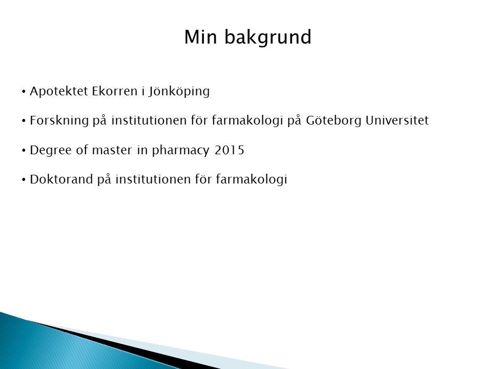 Min bakgrund Apotektet Ekorren i Jönköping Forskning på institutionen för farmakologi på Göteborg Universitet Degree of master in pharmacy 2015 Doktorand på institutionen för farmakologi