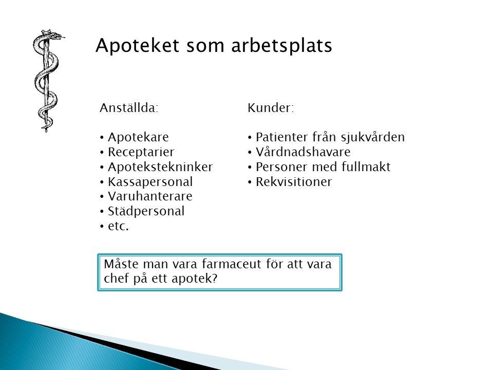 Apoteket som arbetsplats Anställda: Apotekare Receptarier Apotekstekninker Kassapersonal Varuhanterare Städpersonal etc.