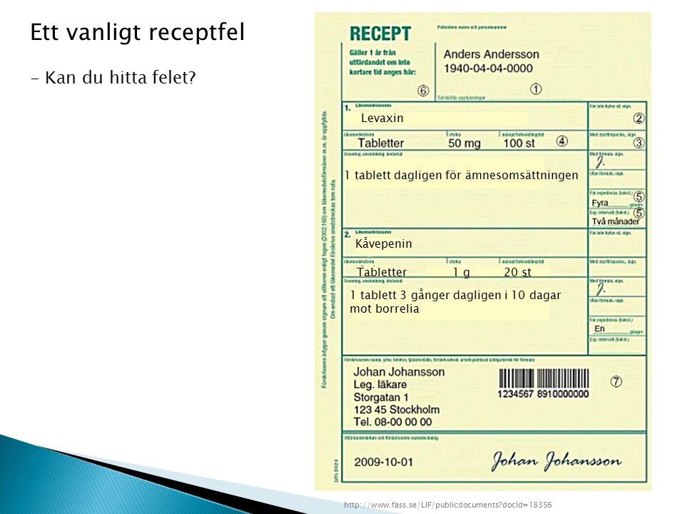 Levaxin 1 tablett dagligen för ämnesomsättningen Kåvepenin Tabletter1 g20 st 1 tablett 3 gånger dagligen i 10 dagar mot borrelia http://www.fass.se/LIF/publicdocuments?docId=18356 Ett vanligt receptfel - Kan du hitta felet?