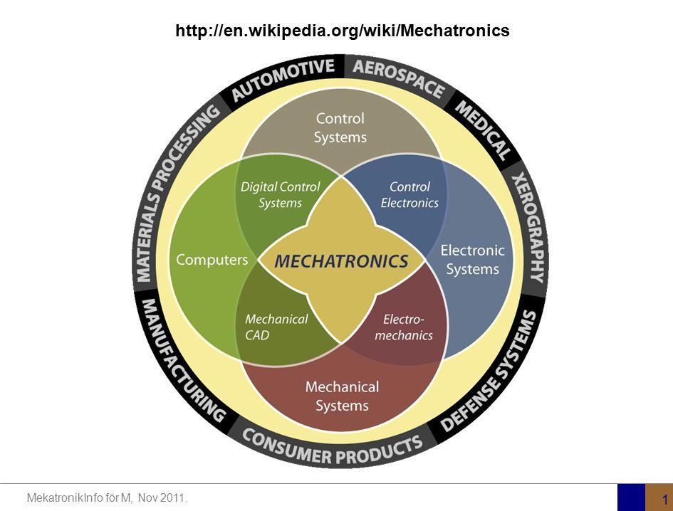MekatronikInfo för M, Nov 2011. 1 http://en.wikipedia.org/wiki/Mechatronics