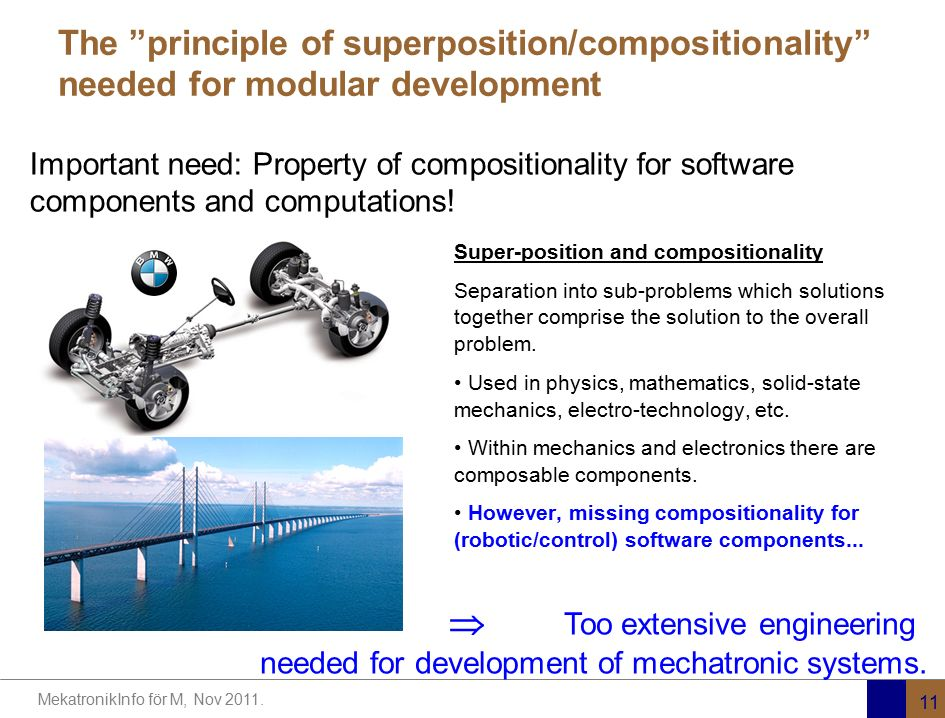 "MekatronikInfo för M, Nov 2011. 11 The ""principle of superposition/compositionality"" needed for modular development Super-position and compositionalit"