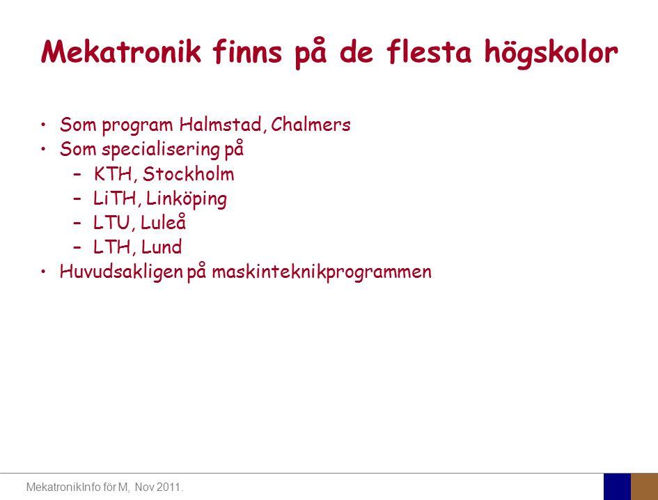 MekatronikInfo för M, Nov 2011. Mekatronik finns på de flesta högskolor Som program Halmstad, Chalmers Som specialisering på –KTH, Stockholm –LiTH, Li