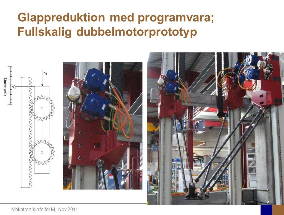 MekatronikInfo för M, Nov 2011. Glappreduktion med programvara; Fullskalig dubbelmotorprototyp Klas.Nilsson@cs.LTH.se