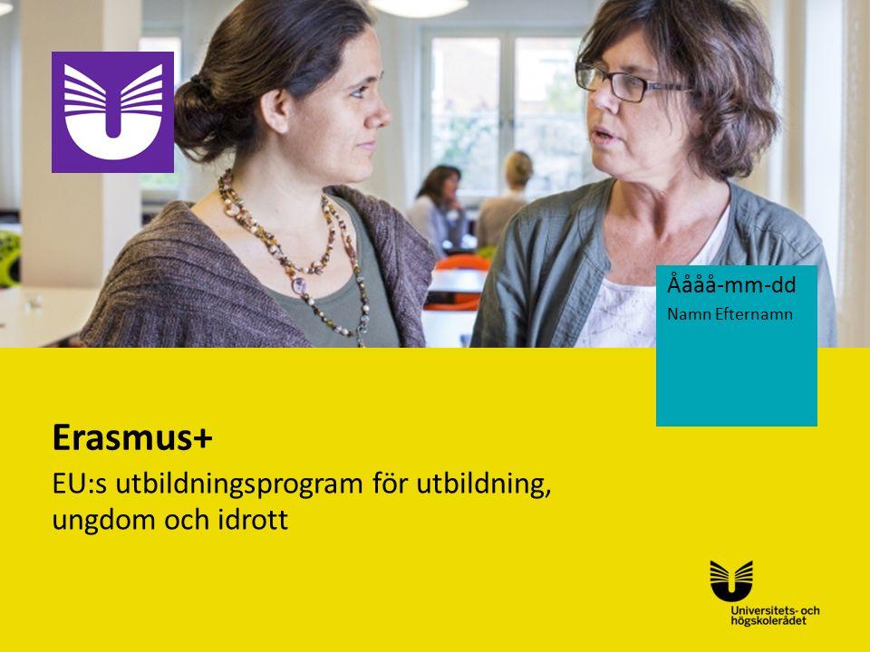 Sv Erasmus+ EU:s utbildningsprogram för utbildning, ungdom och idrott Åååå-mm-dd Namn Efternamn