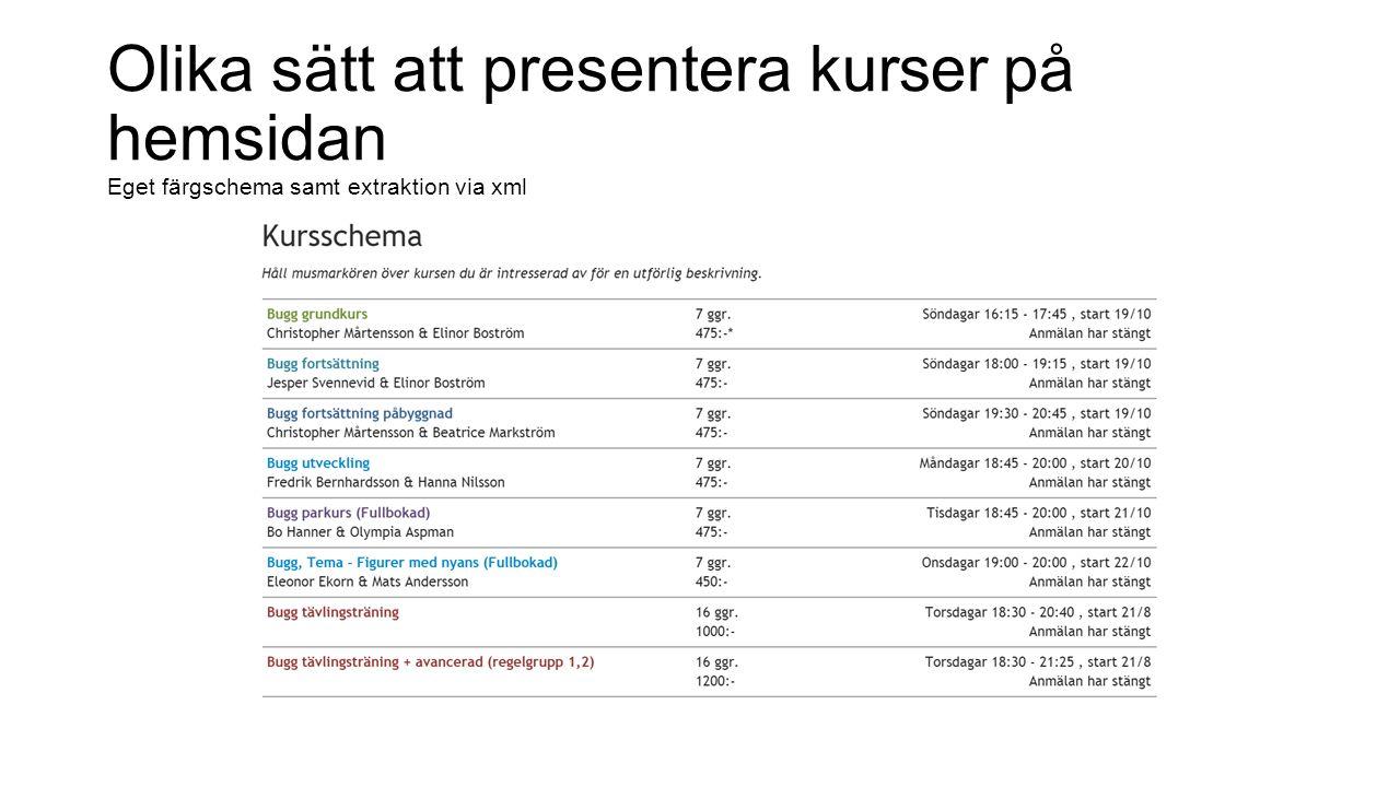 Olika sätt att presentera kurser på hemsidan Eget färgschema samt extraktion via xml