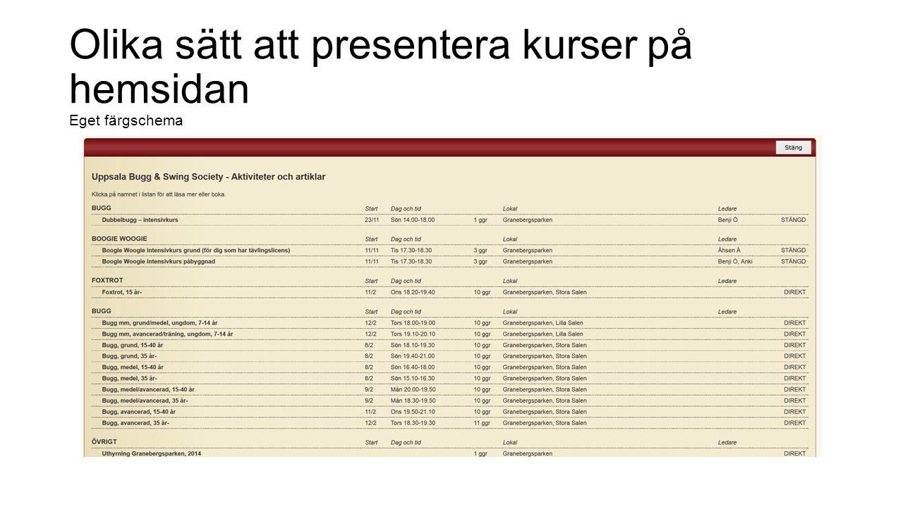 Olika sätt att presentera kurser på hemsidan Eget färgschema