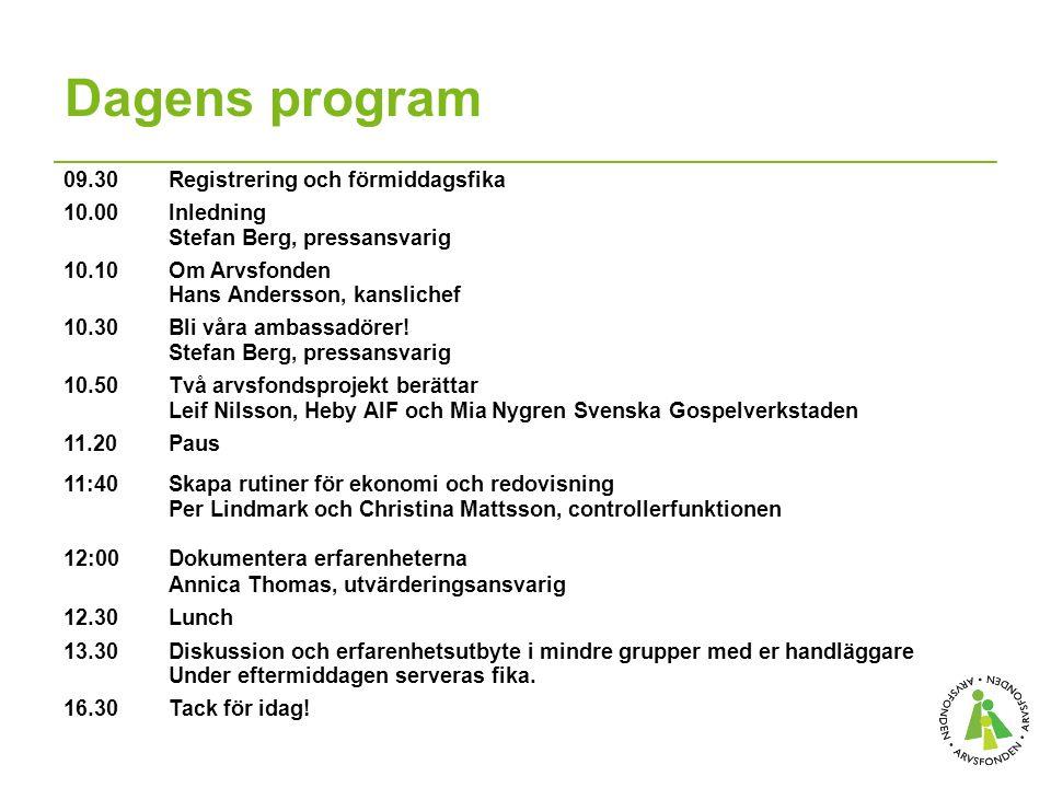 Dagens program 09.30 Registrering och förmiddagsfika 10.00 Inledning Stefan Berg, pressansvarig 10.10 Om Arvsfonden Hans Andersson, kanslichef 10.30Bli våra ambassadörer.