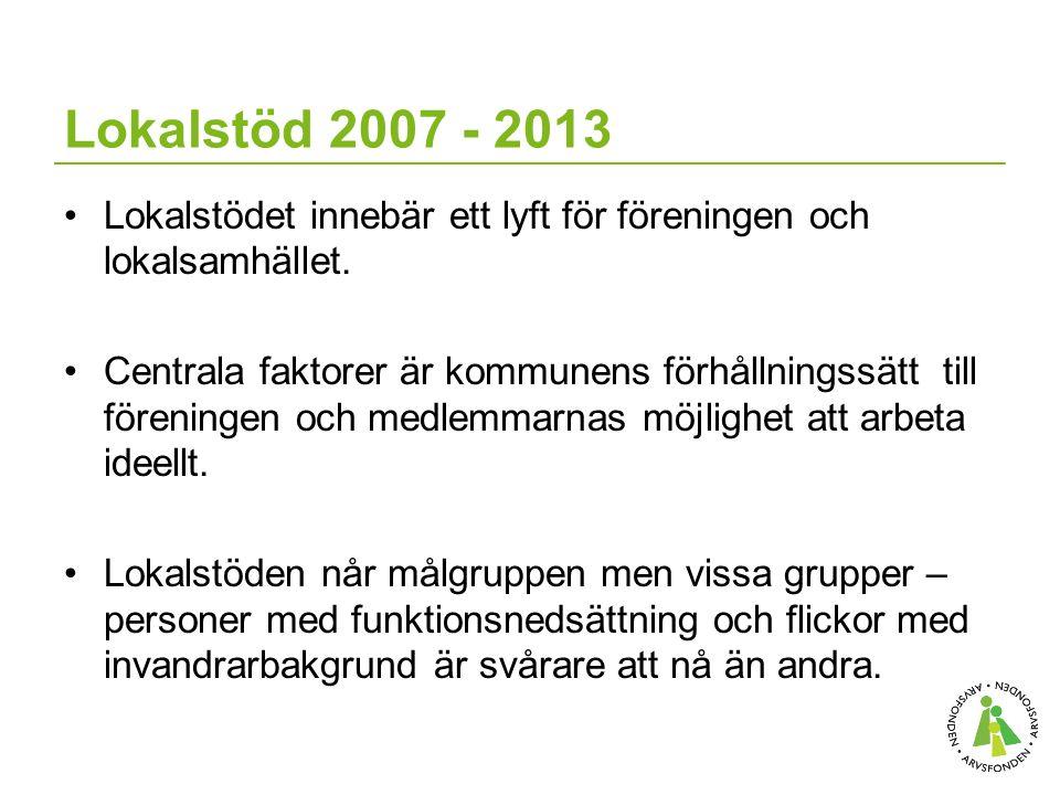 Lokalstöd 2007 - 2013 Lokalstödet innebär ett lyft för föreningen och lokalsamhället.