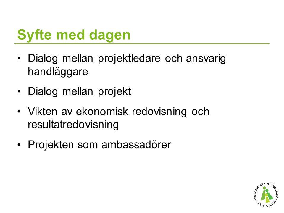 Syfte med dagen Dialog mellan projektledare och ansvarig handläggare Dialog mellan projekt Vikten av ekonomisk redovisning och resultatredovisning Projekten som ambassadörer