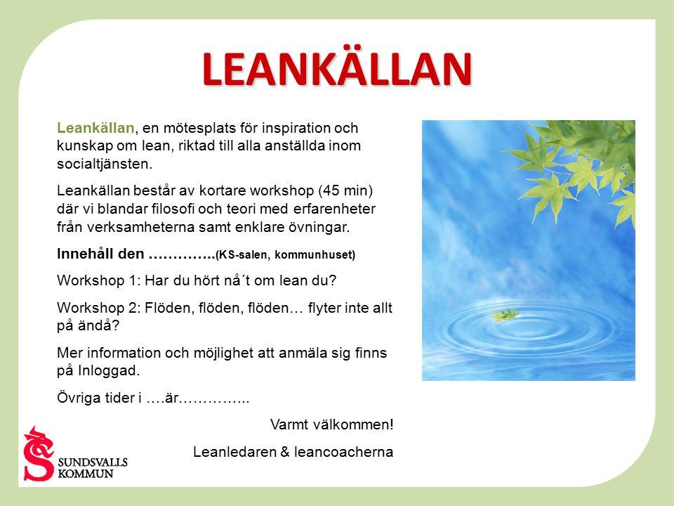 LEANKÄLLAN Leankällan, en mötesplats för inspiration och kunskap om lean, riktad till alla anställda inom socialtjänsten. Leankällan består av kortare