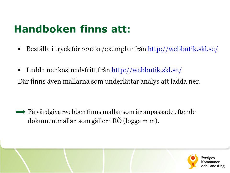 Handboken finns att:  Beställa i tryck för 220 kr/exemplar från http://webbutik.skl.se/http://webbutik.skl.se/  Ladda ner kostnadsfritt från http://