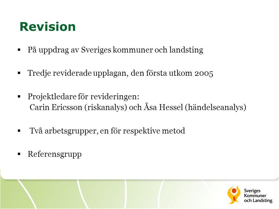 Revision  På uppdrag av Sveriges kommuner och landsting  Tredje reviderade upplagan, den första utkom 2005  Projektledare för revideringen: Carin E