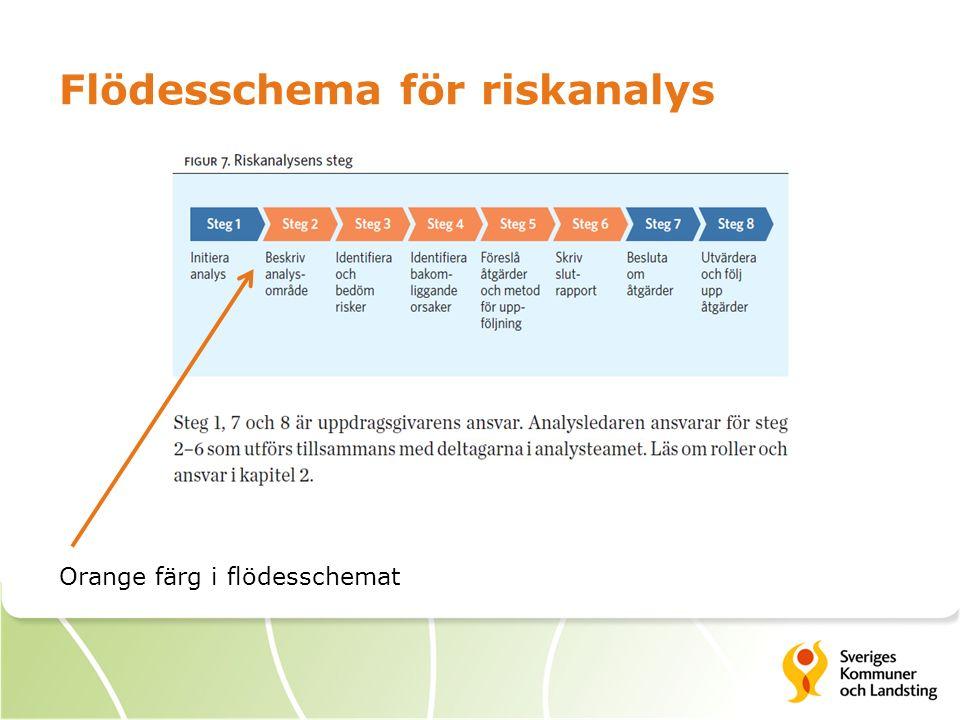 Flödesschema för riskanalys Orange färg i flödesschemat