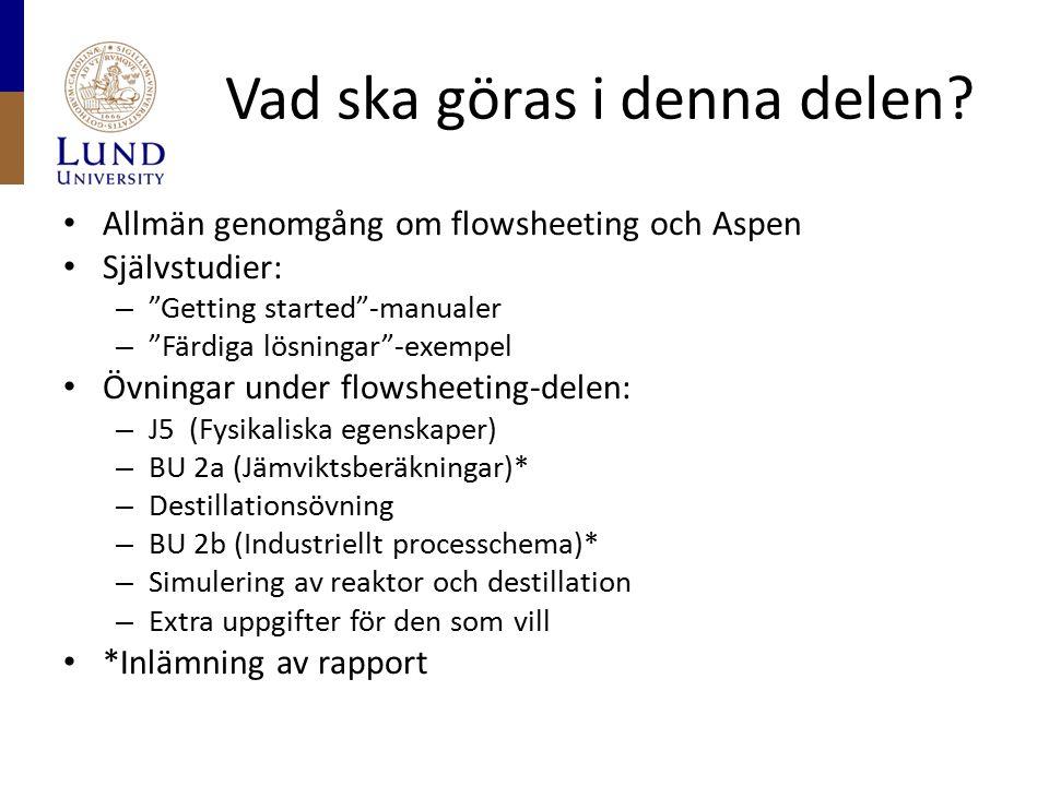 """Vad ska göras i denna delen? Allmän genomgång om flowsheeting och Aspen Självstudier: – """"Getting started""""-manualer – """"Färdiga lösningar""""-exempel Övnin"""