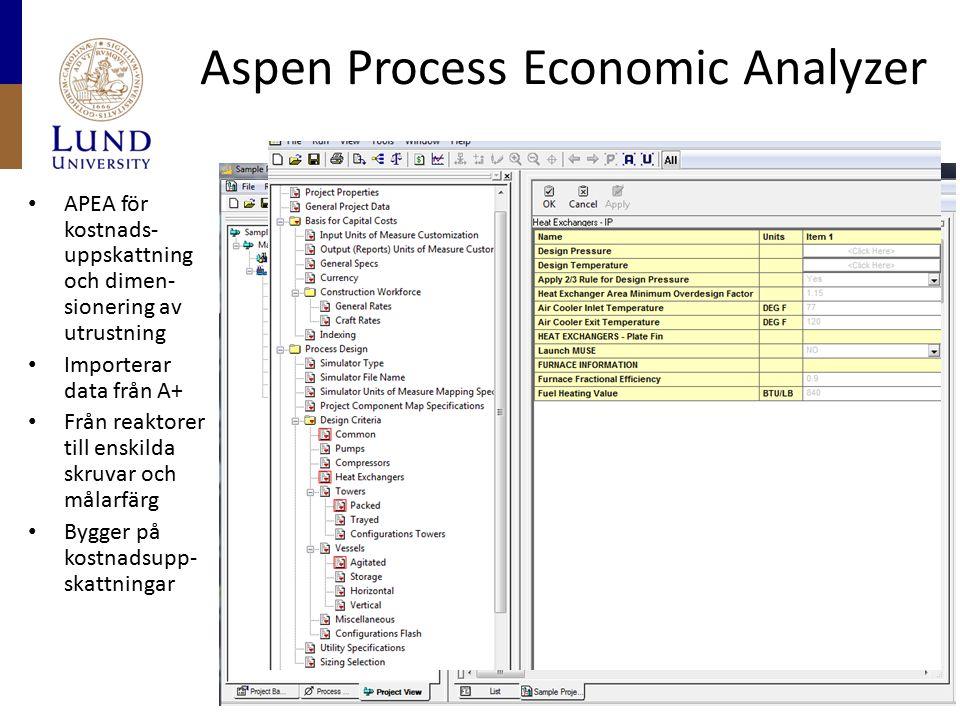 Aspen Process Economic Analyzer APEA för kostnads- uppskattning och dimen- sionering av utrustning Importerar data från A+ Från reaktorer till enskilda skruvar och målarfärg Bygger på kostnadsupp- skattningar