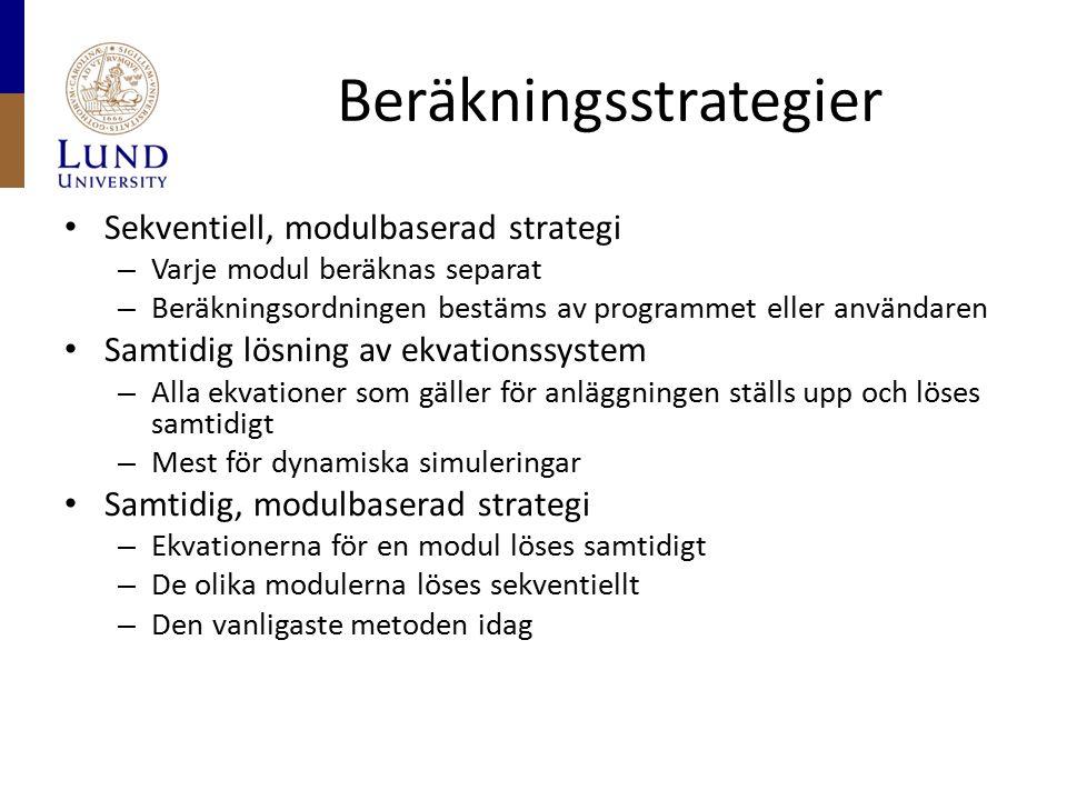 Beräkningsstrategier Sekventiell, modulbaserad strategi – Varje modul beräknas separat – Beräkningsordningen bestäms av programmet eller användaren Sa