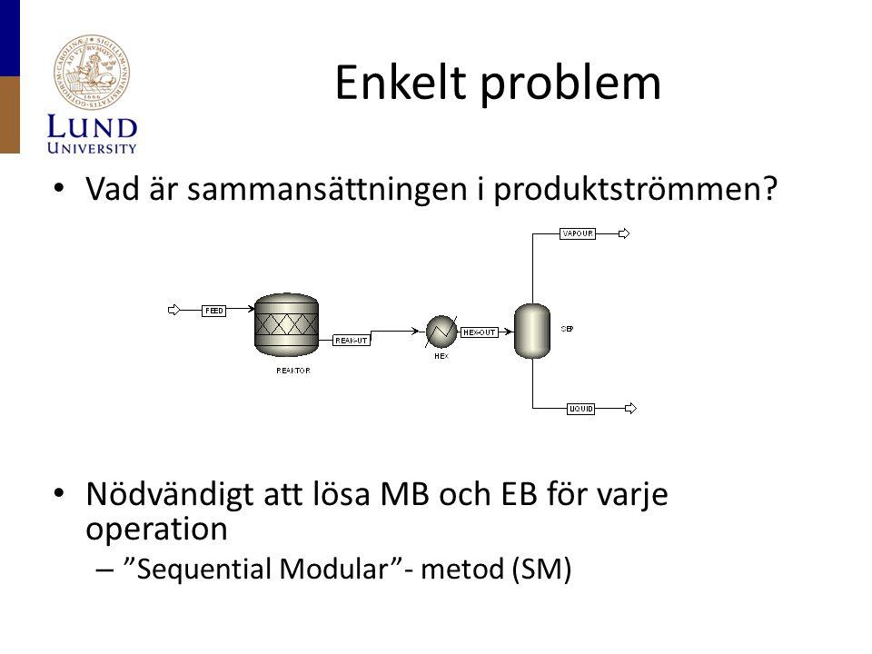 """Enkelt problem Vad är sammansättningen i produktströmmen? Nödvändigt att lösa MB och EB för varje operation – """"Sequential Modular""""- metod (SM)"""