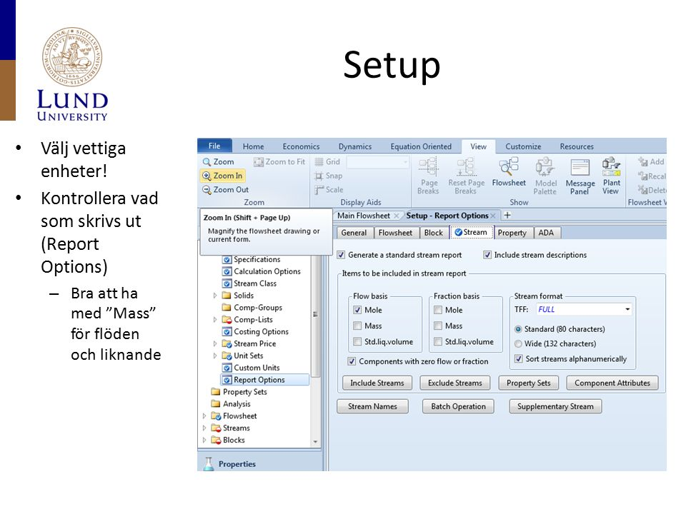 """Setup Välj vettiga enheter! Kontrollera vad som skrivs ut (Report Options) – Bra att ha med """"Mass"""" för flöden och liknande"""