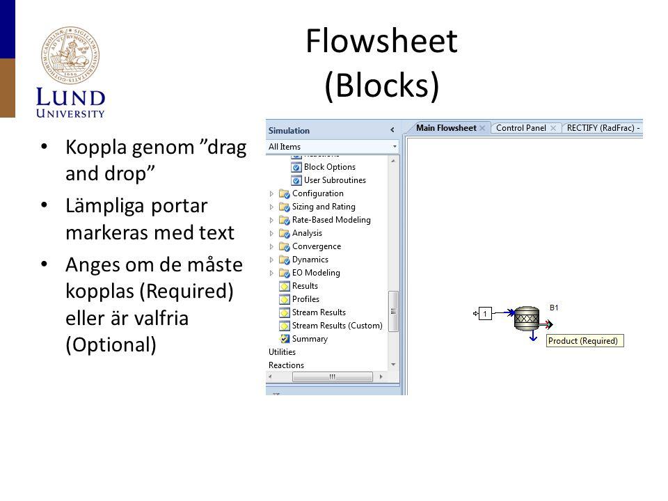 """Flowsheet (Blocks) Koppla genom """"drag and drop"""" Lämpliga portar markeras med text Anges om de måste kopplas (Required) eller är valfria (Optional)"""