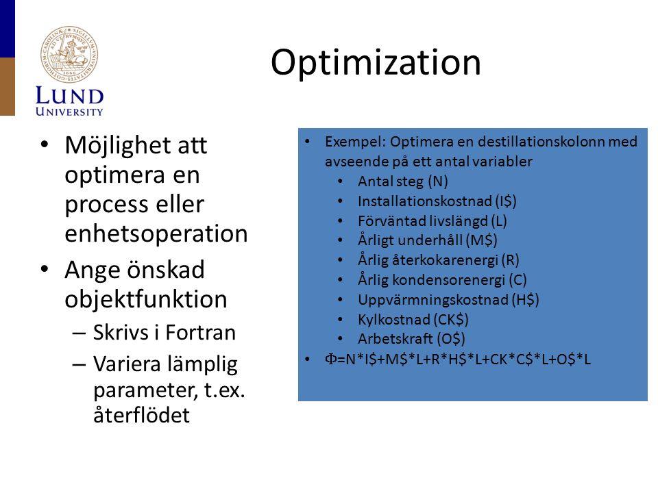 Optimization Möjlighet att optimera en process eller enhetsoperation Ange önskad objektfunktion – Skrivs i Fortran – Variera lämplig parameter, t.ex.