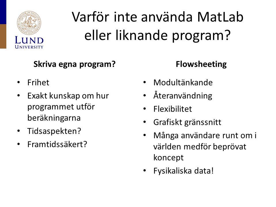 Varför inte använda MatLab eller liknande program? Skriva egna program? Frihet Exakt kunskap om hur programmet utför beräkningarna Tidsaspekten? Framt