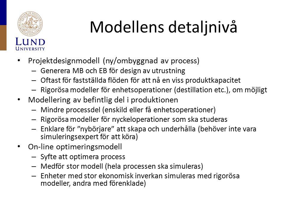 Modellens detaljnivå Projektdesignmodell (ny/ombyggnad av process) – Generera MB och EB för design av utrustning – Oftast för fastställda flöden för a
