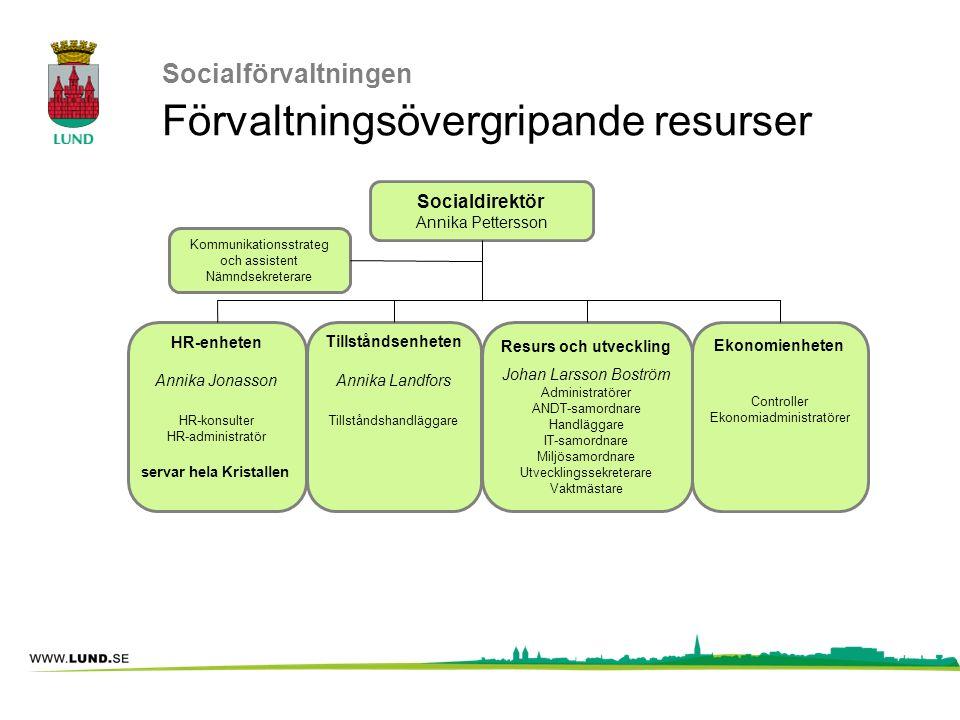 Socialförvaltningen Förvaltningsövergripande resurser Kommunikationsstrateg och assistent Nämndsekreterare Resurs och utveckling Johan Larsson Boström