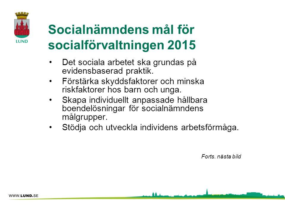 Socialnämndens mål för socialförvaltningen 2015 Det sociala arbetet ska grundas på evidensbaserad praktik. Förstärka skyddsfaktorer och minska riskfak
