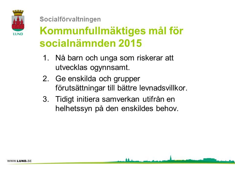 Socialförvaltningen Kommunfullmäktiges mål för socialnämnden 2015 1.Nå barn och unga som riskerar att utvecklas ogynnsamt. 2.Ge enskilda och grupper f