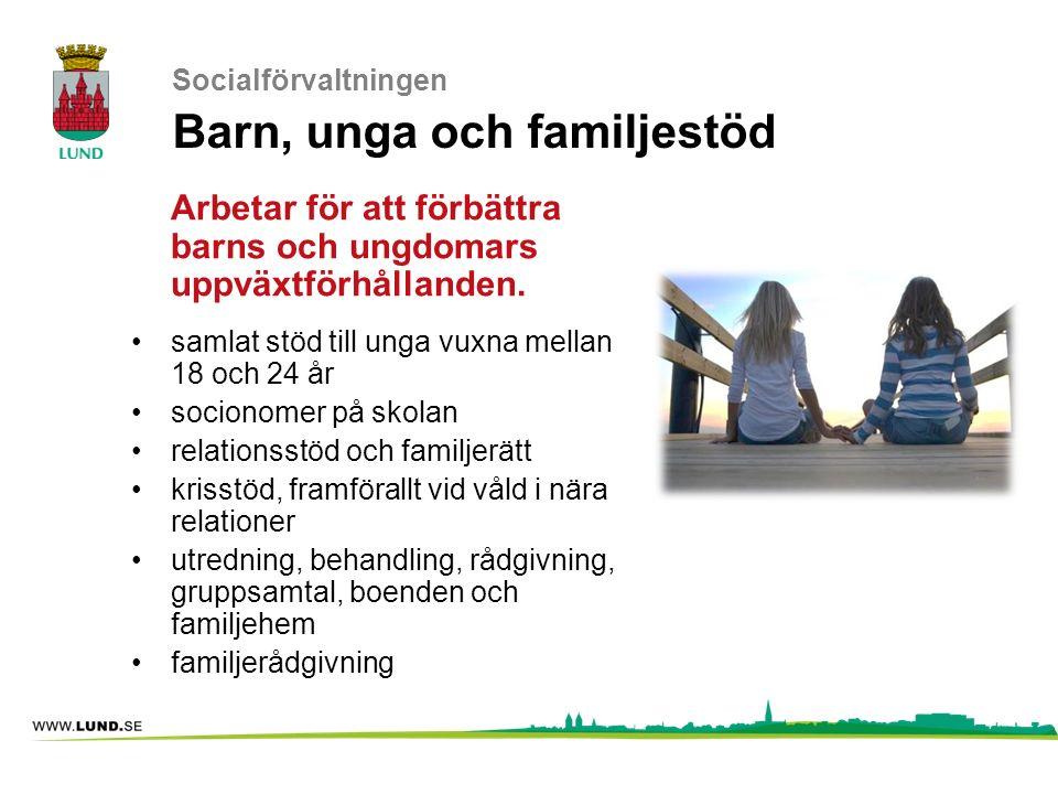 Socialförvaltningen Barn, unga och familjestöd Arbetar för att förbättra barns och ungdomars uppväxtförhållanden. samlat stöd till unga vuxna mellan 1