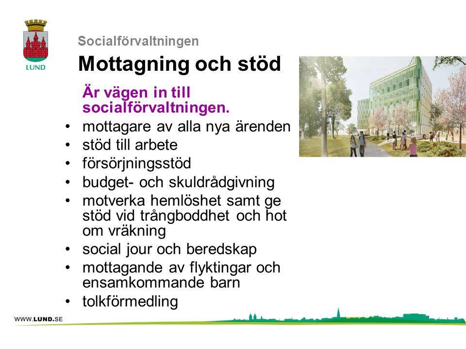 Socialförvaltningen Mottagning och stöd Är vägen in till socialförvaltningen. mottagare av alla nya ärenden stöd till arbete försörjningsstöd budget-