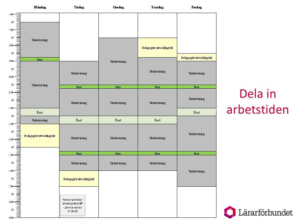 Beräkningsperioder Din veckoarbetstid kan variera från vecka till vecka men ska under en beräkningsperiod i genomsnitt inte överstiga den avtalade veckoarbetstiden, t ex 40 h.