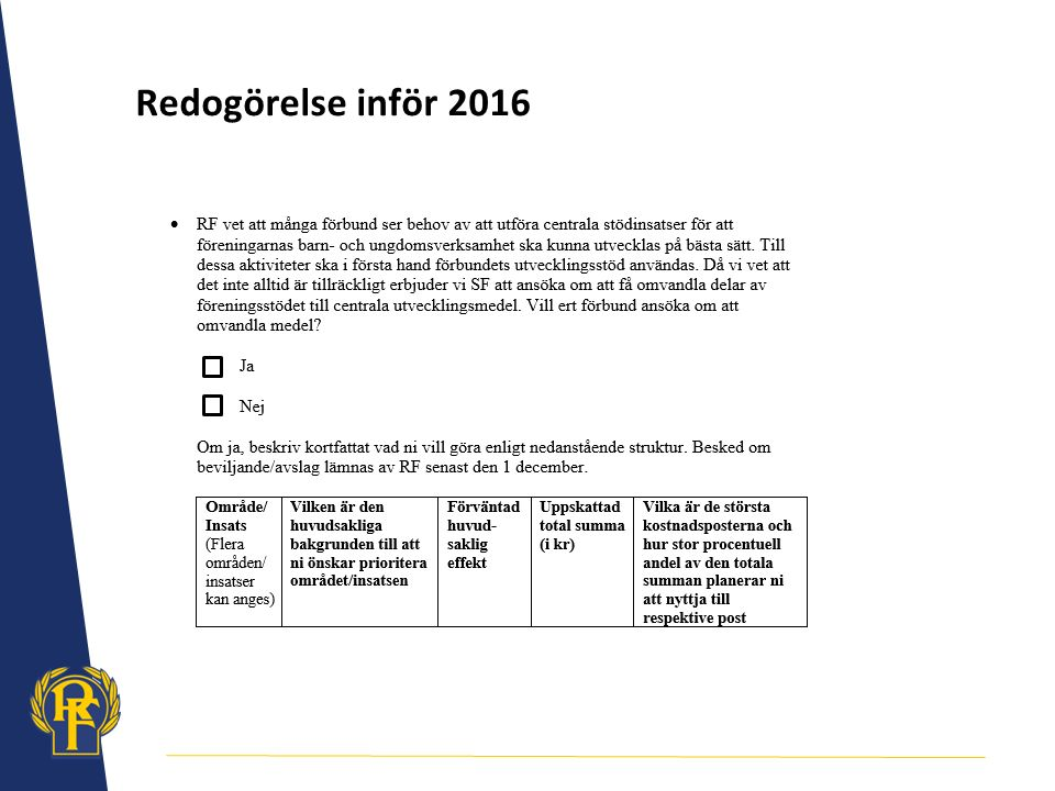 Redogörelse inför 2016